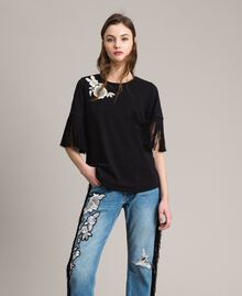 Embroidery and fringe T-shirt Black Woman 191TT2131-04
