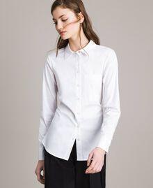 Popeline-Hemd mit Schleifen White Sahne Frau 191MP2216-02