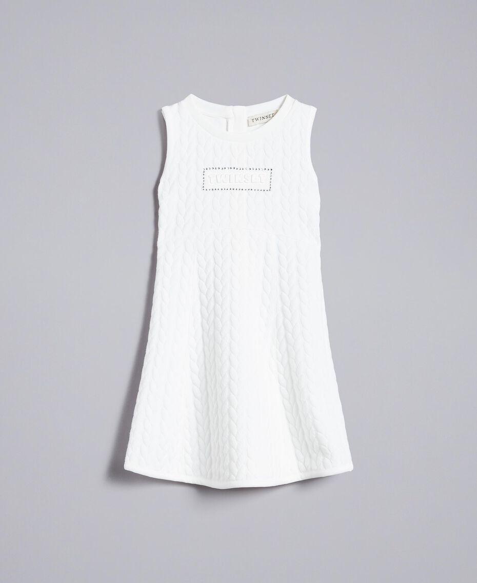 Matelassé fleece dress with rhinestones Off White Child GA82NP-01