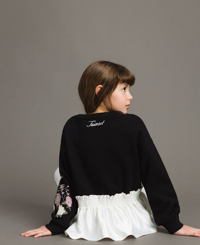 Cotton sweatshirt with satin flounce Bicolour Black / Off White Child 191GJ2401-04