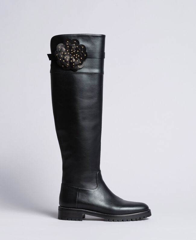 Leather over-the-knee boots with flower Black Woman CA8PNC-01