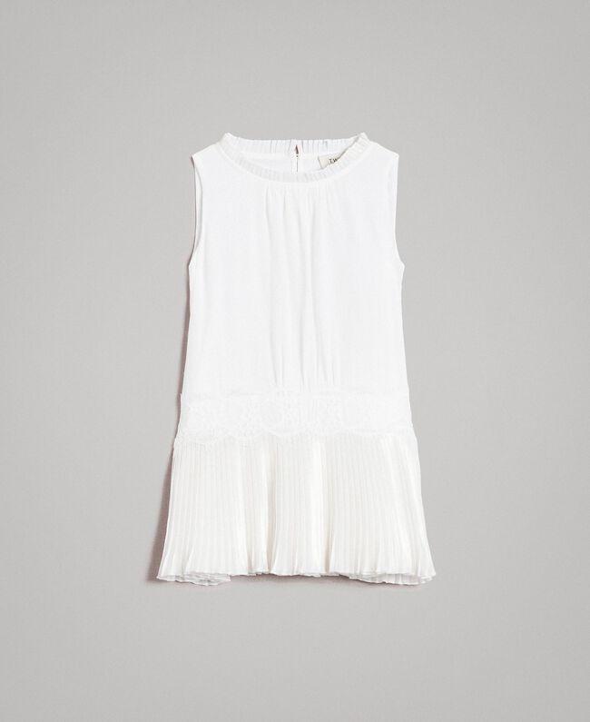 Plissiertes Kleid aus Chinakrepp Mattweiß Kind 191GB2QA0-01