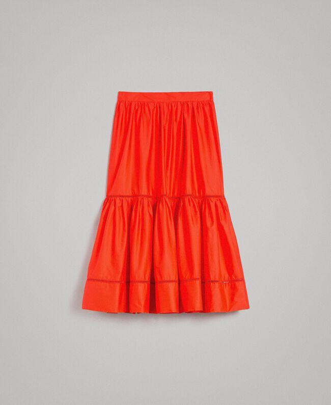 Poplin mid-length skirt Granadine Red Woman 191TT224B-0S
