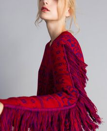 """Maxi jacquard jumper with fringes Two-tone """"Blackberry"""" Purple / Cherry Red Woman QA8TBN-01"""