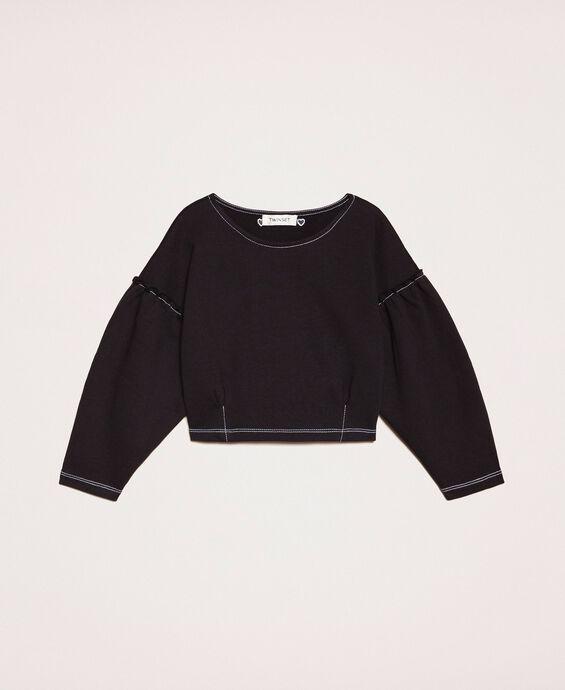 Cropped gathered sweatshirt