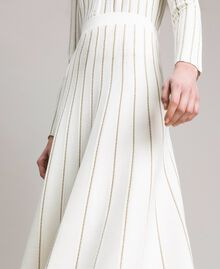 Mid-length skirt with lurex stripes White Snow Woman 191TP3253-04