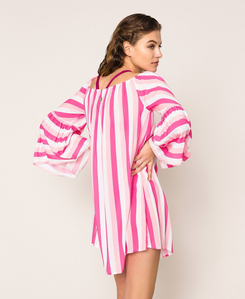 Striped kaftan with drawstring Multicolour Candy Pink / Shocking Pink / Optical White Woman 201LM2FEE-03