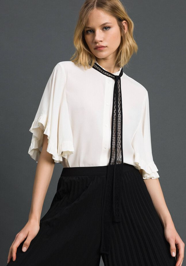 Crêpe de Chine silk blend shirt