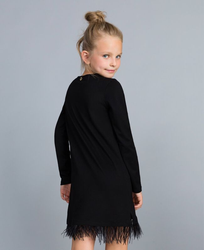 Jersey dress with feathers Black Child GA827A-03