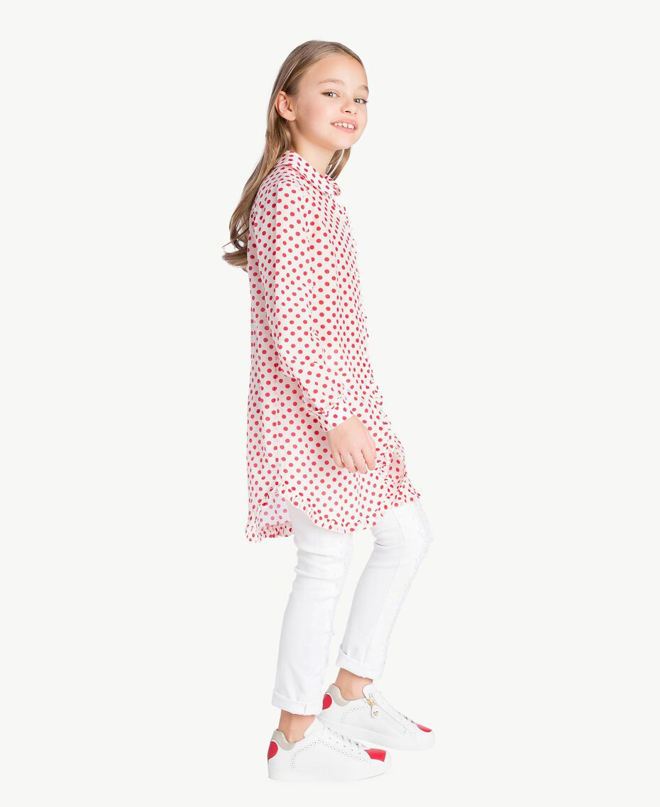 "Polka dot tunic ""Papyrus"" White Polka Dot Print / Pomegranate Red Child GS82PP-03"