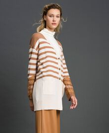 "Wool blend maxi cardigan with stripes and lace Creamy White / ""Sequoia"" Beige Woman 192ST3011-02"