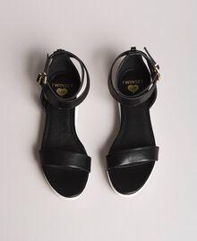 Sandales à plateforme avec lanière Noir Femme 191LL49FF-04
