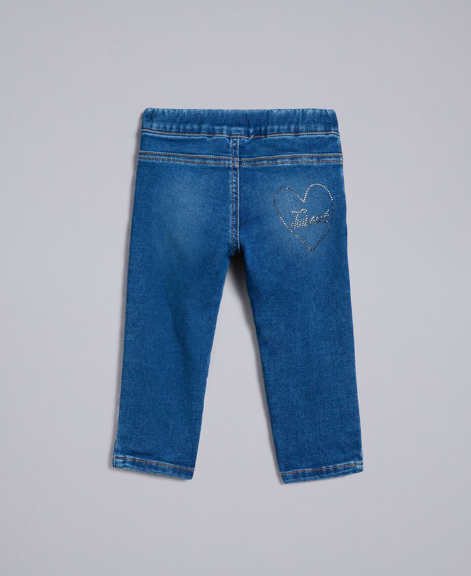 "Jeans in denim con strass Blu ""Denim Medio"" Bambina FA82VN-0S"