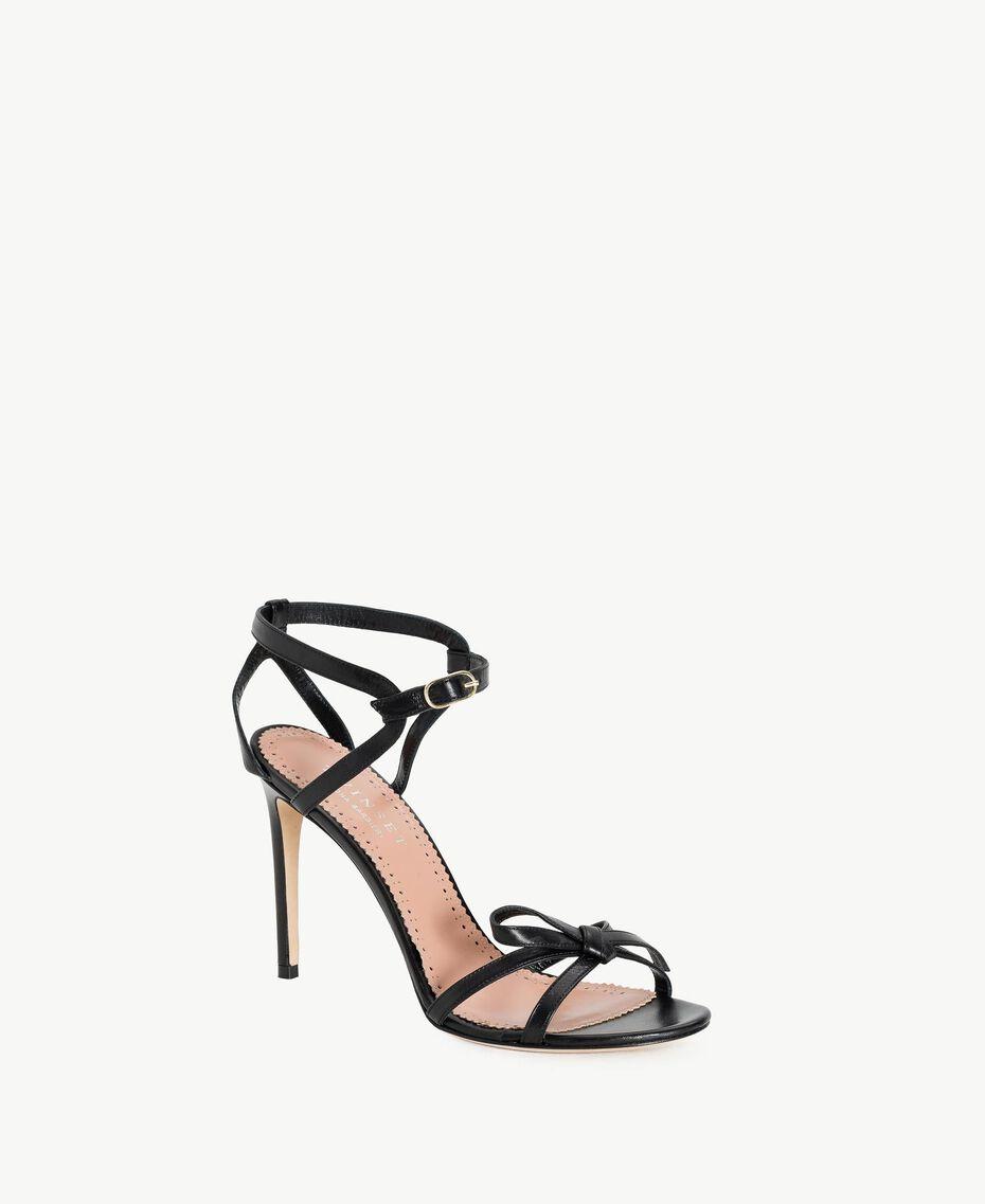 TWINSET Sandalette aus Lackleder Schwarz Frau CS8TDJ-02