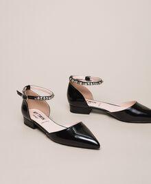 Patent leather ballerina pumps with rhinestones Black Woman 201MCP01G-02