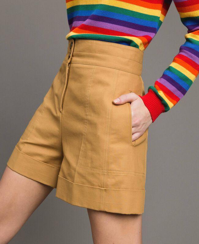 """Shorts aus technischer Baumwolle """"Mid Tan"""" Braun Frau 191TP2182-01"""