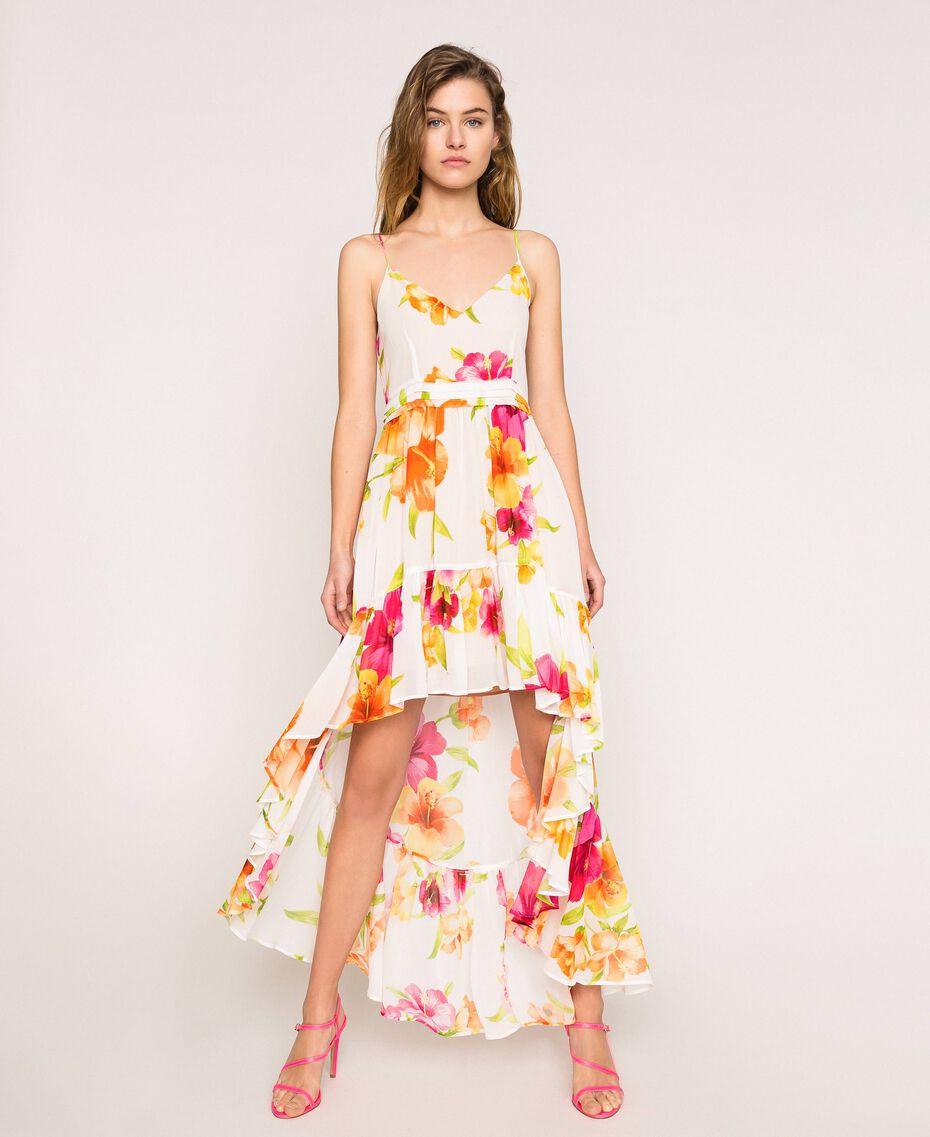 Vestido asimétrico de georgette de flores Estampado Hibiscus Nieve Mujer 201TT2493-01
