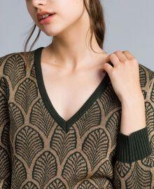 Pull en laine mélangée et lurex jacquard Jacquard Vert Forêt Or Lurex Femme TA8323-01