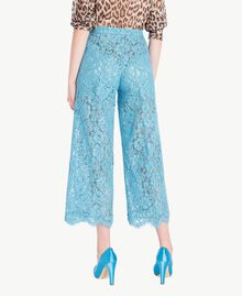 Hose aus Spitze in Croppedlänge Orientblau Frau PS82XC-03