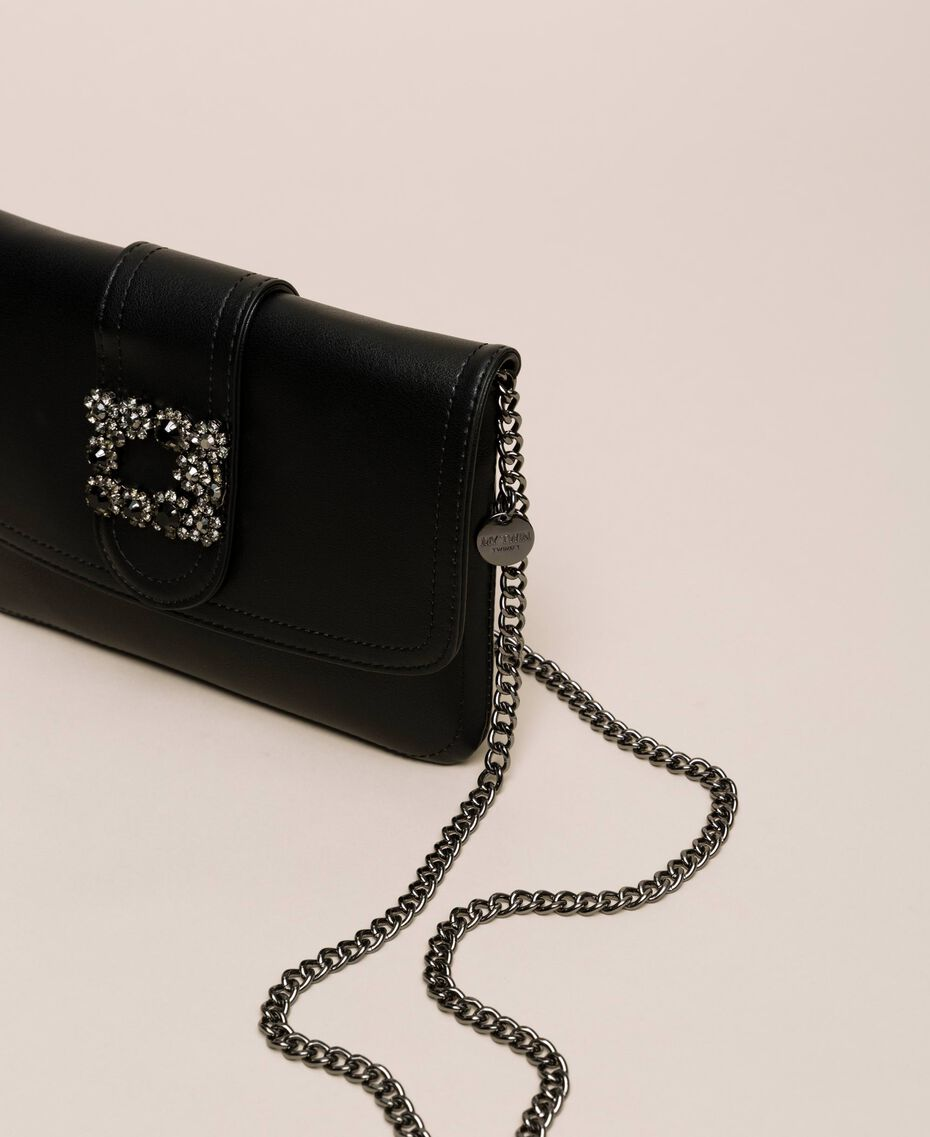 Faux leather pochette with decorative buckle Black Woman 201MO8121-01