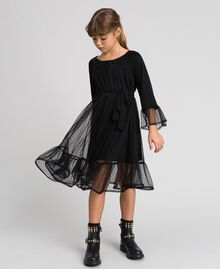 Tulle dress with flounce Black Child 192GJ2460-04