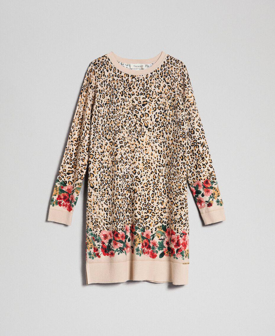 Mini abito in maglia animalier e a fiori Stampa Leopardo / Fiore Bambina 192GJ3180-0S