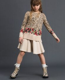 Floral and animal print jumper Leopard Print / Floral Child 192GJ3181-0T