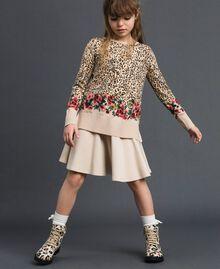 Pullover mit Blumen-Animal-Print Print Leopard / Blumen Kind 192GJ3181-0T