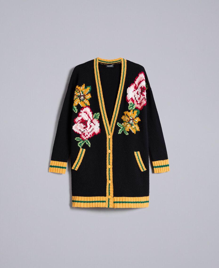 Maxi wool blend cardigan Black Woman PA83HN-0S