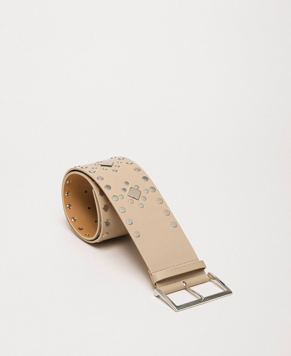 Studded wide leather belt Black Woman 201TO5342-02