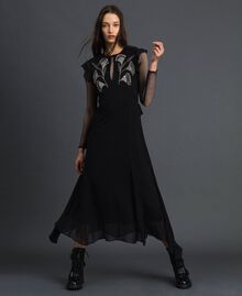 Long georgette dress with floral embroidery Black Woman 192TP2161-01
