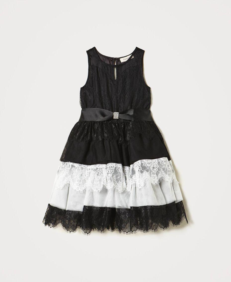 Robe en dentelle et tulle bicolore Bicolore Noir / Blanc Cassé Enfant 211GJ2Q8D-0S