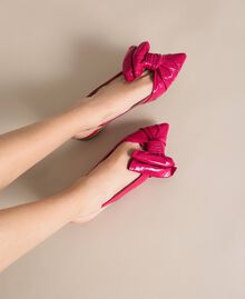 Patent leather ballerina pumps with bow Black Cherry Woman 201TCP110-0S
