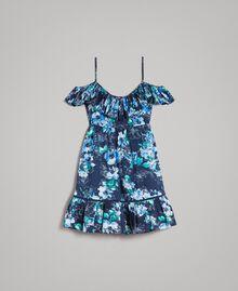 Robe avec imprimé floral et volant Imprimé Fleur Multicolore Bleu Nuit Total Femme 191MT2290-0S
