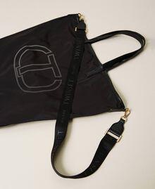 Foldable shopper with logo Black Woman 212TB7190-02