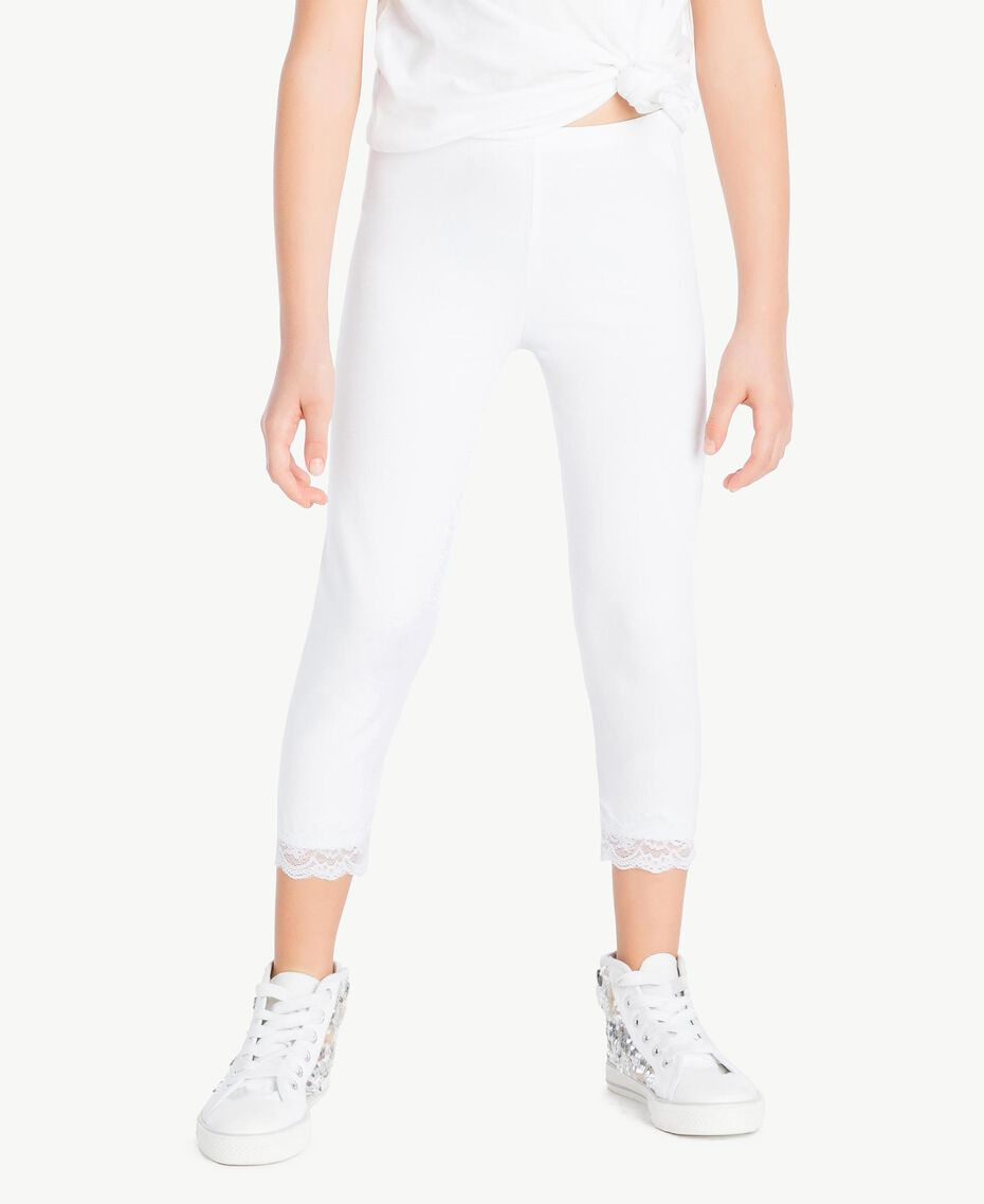 "Leggings jersey Bianco ""Papers"" Bambina GS82BB-02"