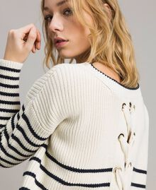 Striped top with eyelets Deep Blue / Snow Striping Woman 191TP3121-01