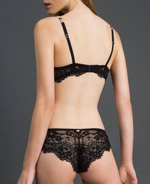 Floral print Brazilian briefs with lace Black Floral Print Woman 192LL6K77-03