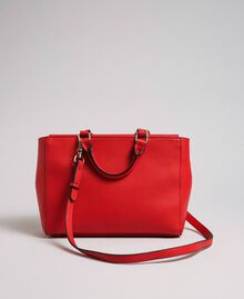 Faux leather shopper with pearls and chains Poppy Red Woman 192MA7053-03