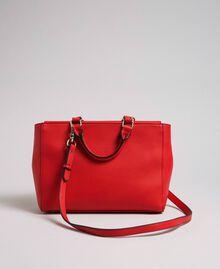 Sac cabas en similicuir avec perles et chaînes Rouge Coquelicot Femme 192MA7053-03