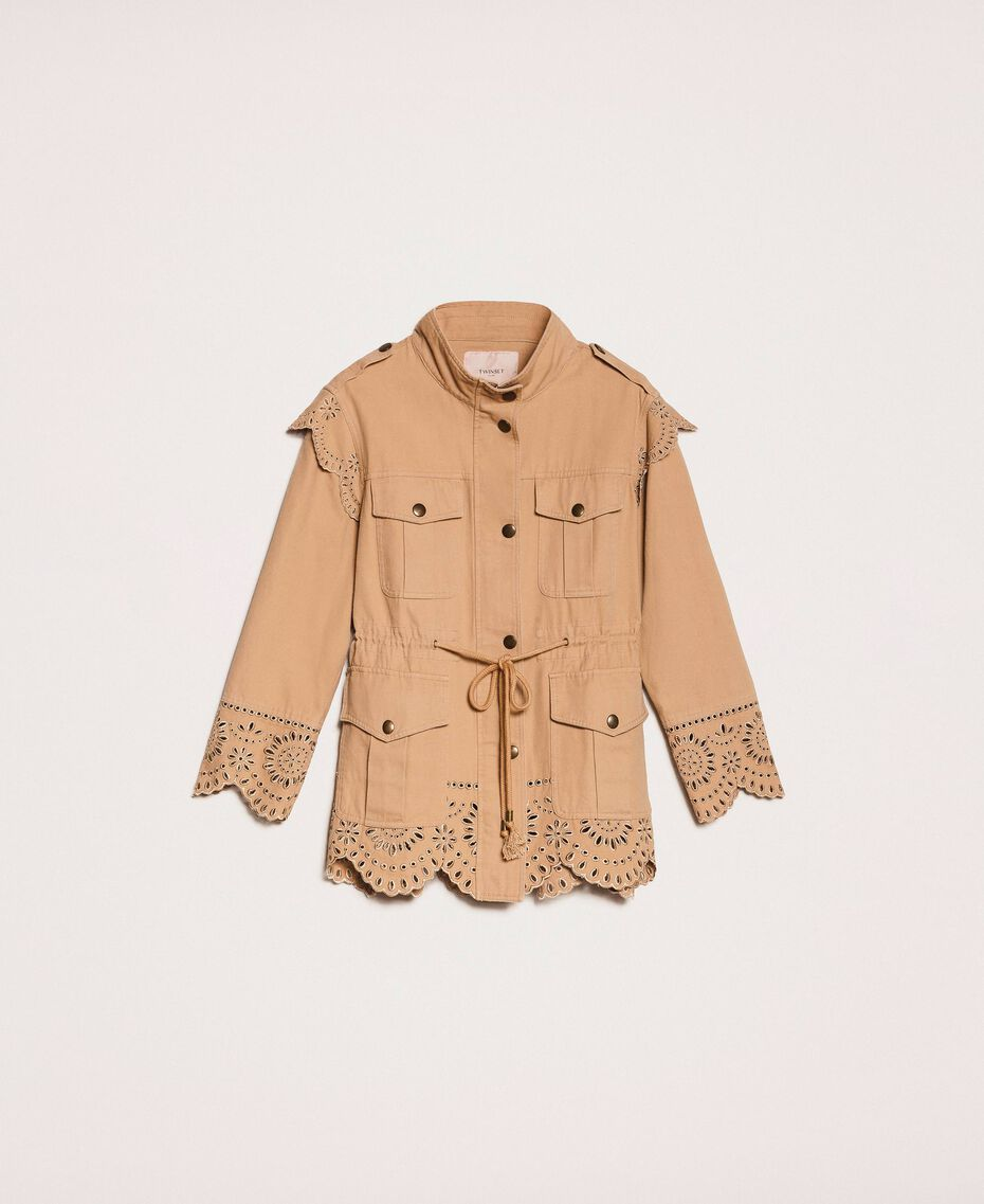 """Canvas jacket with broderie anglaise """"Dune"""" Beige Woman 201TP2011-0S"""