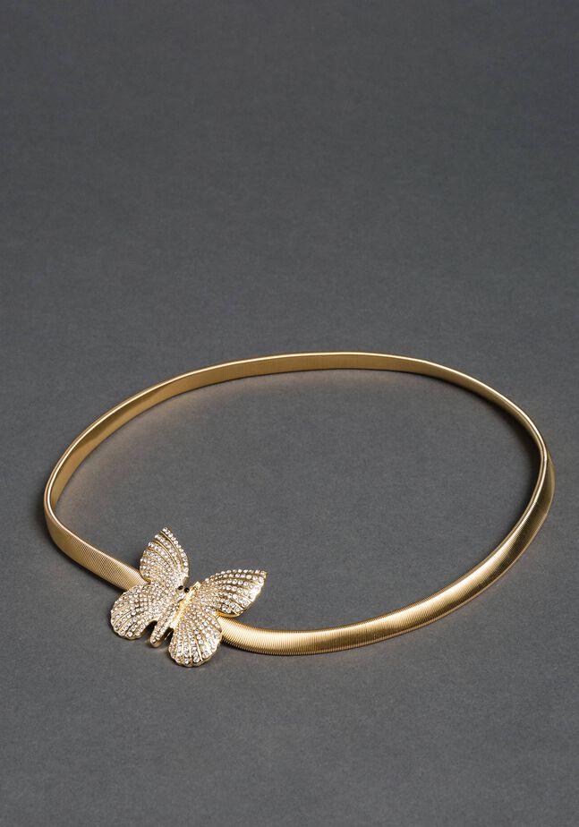 Jewel belt with butterfly buckle