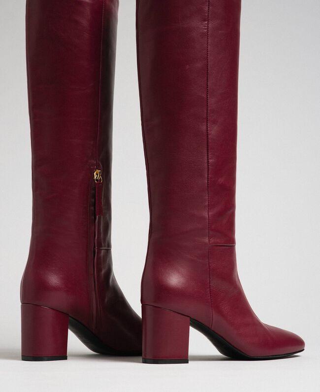 Bottes à talon en cuir Rouge Betterave Femme 192TCP100-03