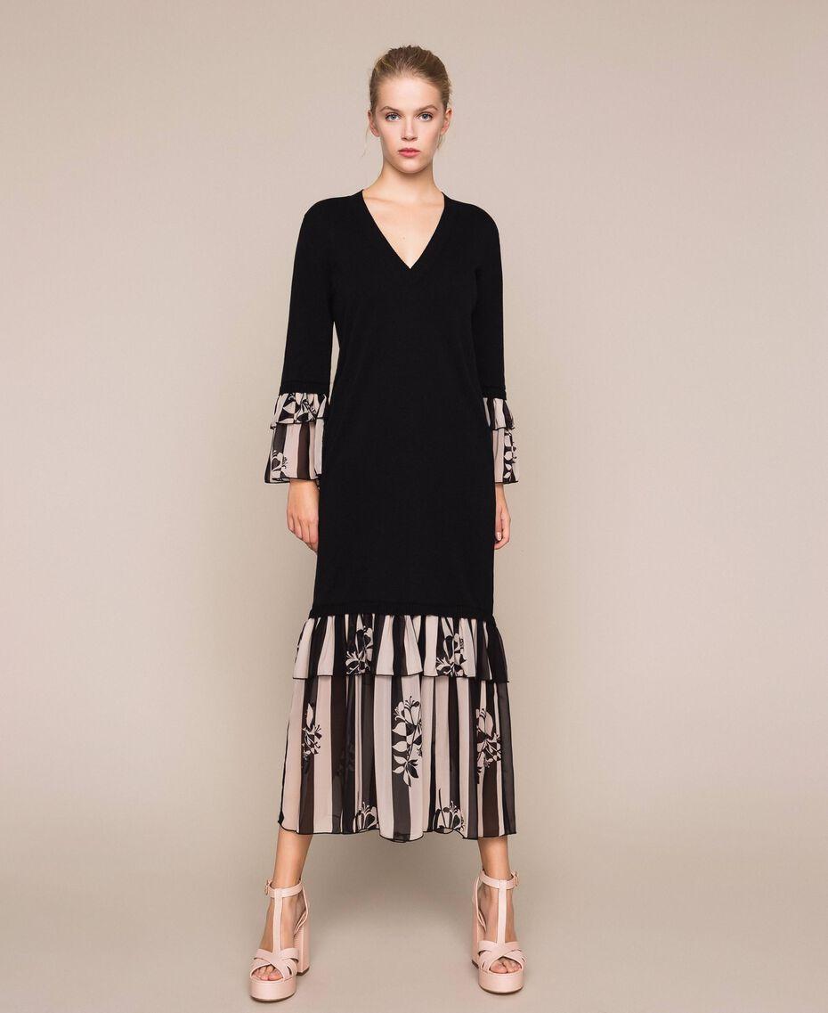 Robe en maille avec volants imprimés Bicolore Noir / Imprimé Rayure Femme 201TP3252-01