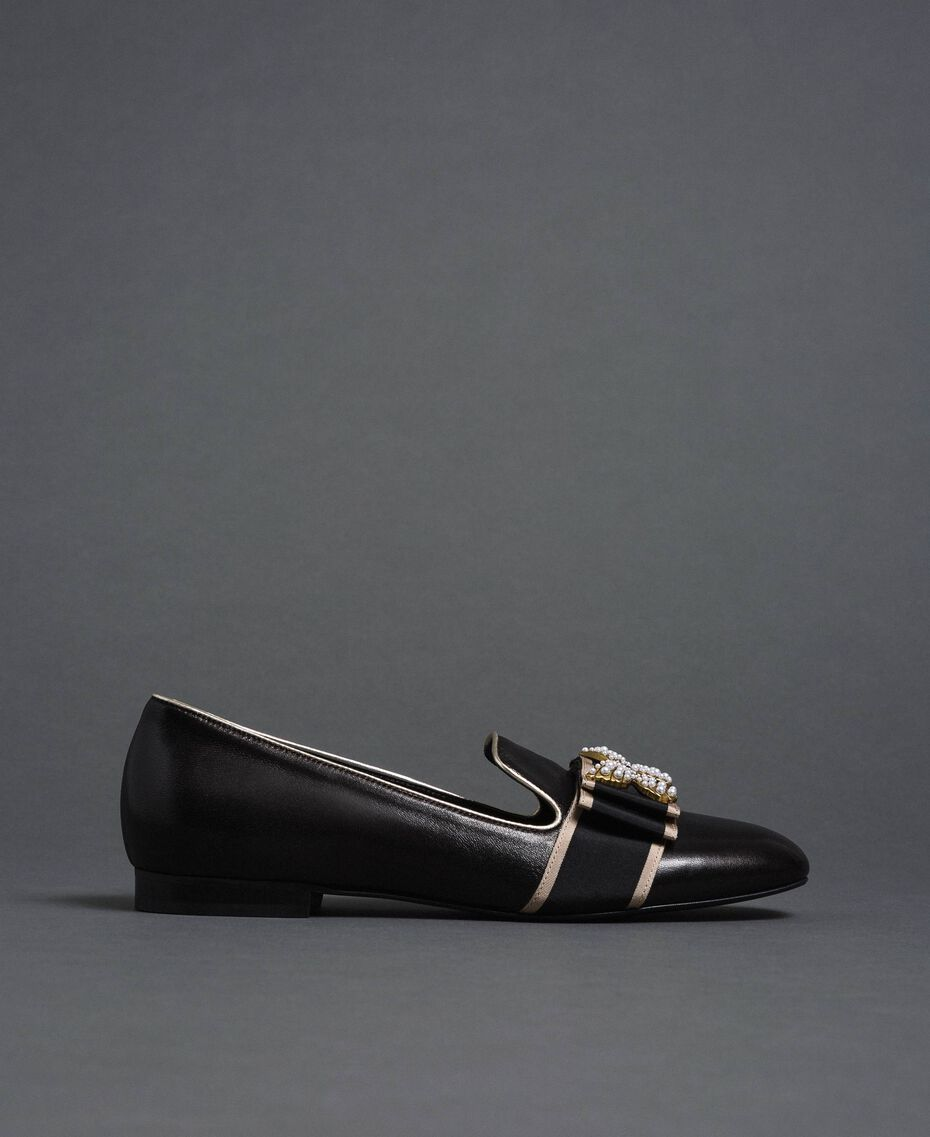 Leather loafers with embroidered band Black Woman 192TCP12G-03