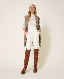 Animal print jacquard wool cloth waistcoat Walnut / Tobacco Animal Print Jacquard Woman 202TT213B-02