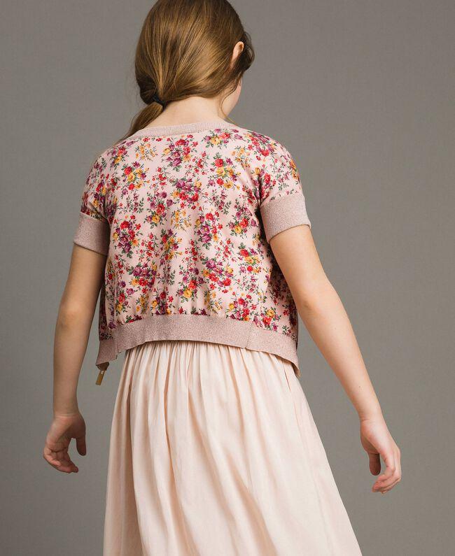 Cardigan-Pullover aus Lurex mit Blumenmuster Motiv Miniblumen Kind 191GJ3050-03