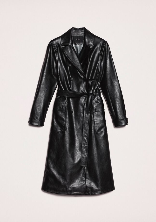 Faux leather trench coat with belt
