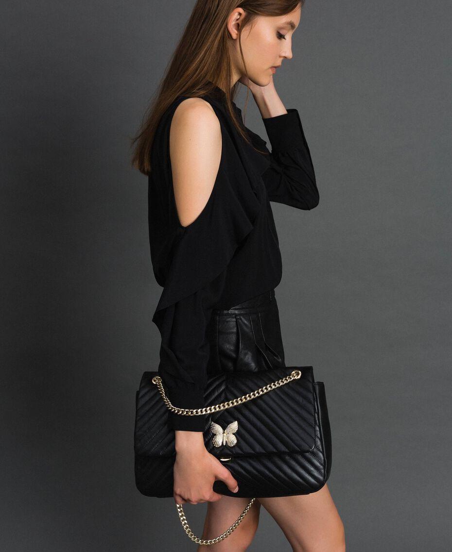 Grand sac à bandoulière en cuir matelassé Noir Femme 192TA7101-0S