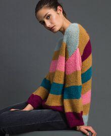 Maxi jumper with multicolour stripes Irish Cream Hazelnut Woman 192MP3221-04